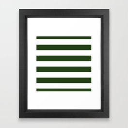 Large Dark Forest Green and White Cabana Tent Stripes Framed Art Print