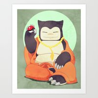 snorlax Art Prints featuring Relax with Snorlax by Lianne Booton