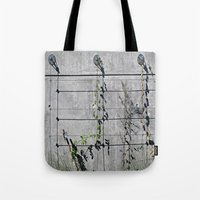 the wire Tote Bags featuring Wire Trellis  by Ethna Gillespie