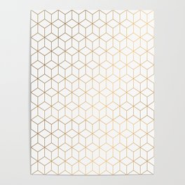 Gold Geometric Pattern on White Background Poster