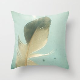 Grey Feather Throw Pillow