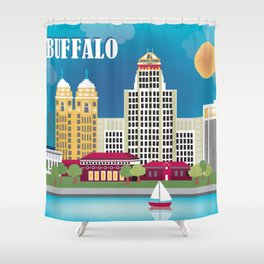 Buffalo, New York - Skyline Illustration by Loose Petals Shower Curtain
