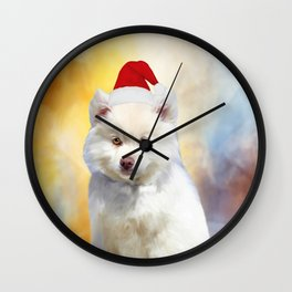 American Eskimo Dog Christmas Santa Hat Wall Clock