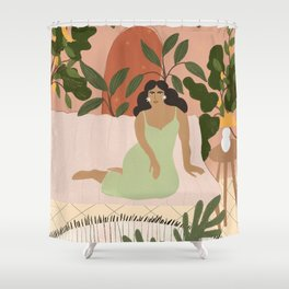 Life With Plants Shower Curtain