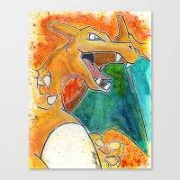 charizard Canvas Prints featuring Charizard by Luke Jonathon Fielding