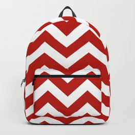International orange (engineering) - red color - Zigzag Chevron Pattern Backpack