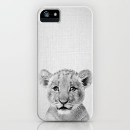 Baby Lion - Black & White iPhone Case