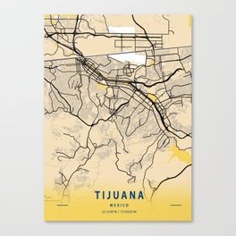 Tijuana Yellow City Map Canvas Print
