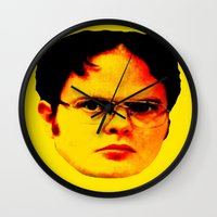 "dwight schrute Wall Clocks featuring Dwight Schrute ""FACT"" by Silvio Ledbetter"