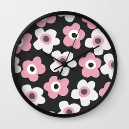 White and pink flowers Wall Clock