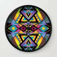 totem Wall Clocks featuring Totem by Amrei Hofstätter