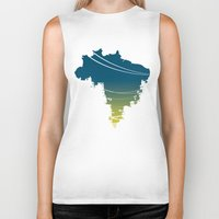 brazil Biker Tanks featuring Brazil by jenkydesign