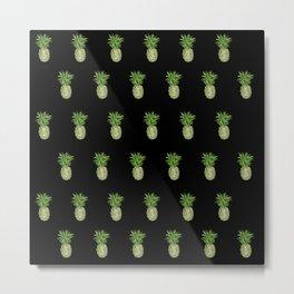 Black Pineapple Pattern Metal Print
