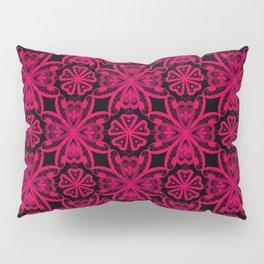 Seamless crimson red romantic floral ornament lace black background Pillow Sham