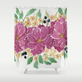 """""""Japanese Maple & Blueberry"""" loose floral bouquet watercolor illustration Shower Curtain"""