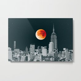 Blood Moon over New York City Skyline Metal Print