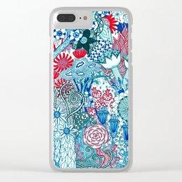 Floral Jungle Blue Clear iPhone Case
