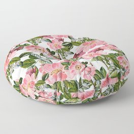 Vintage forest green pink coral bohemian floral Floor Pillow