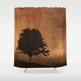 Warm Silhouette Tree Shower Curtain