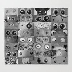 Eyes Eyes Eyes BW Canvas Print