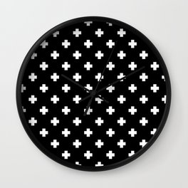 White Swiss Cross Pattern on black background Wall Clock