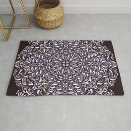 Intricate Rosetta Mandala Mink and Black - Geometric Abstract Art - Floral - Flower of Life Rug