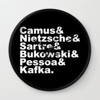 nietzsche Wall Clocks featuring Camus& Nietzsche& Sartre& Bukowski& Pessoa& Kafka. White on Black by Andrew Gony