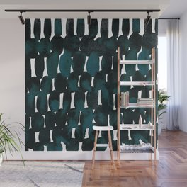 Watercolor Pattern in Teal and Black Wall Mural