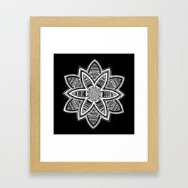 wholeness white mandala on black Framed Art Print