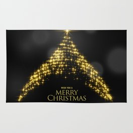 Gold Sparkle Wish You A Merry Christmas Tree Rug