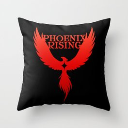 PHOENIX RISING red on black with star center Throw Pillow