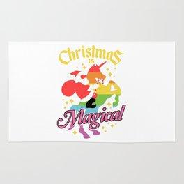 Christmas Is Magical Santa Riding Unicorn Rug