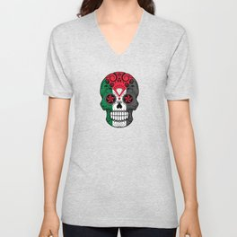 Sugar Skull with Roses and Flag of Palestine Unisex V-Neck