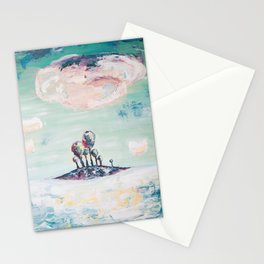 Magical Mint Island - Pastel Painting of Trees and Clouds Stationery Cards