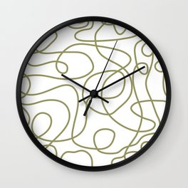 Doodle Line Art | Khaki / Olive Green Lines on White Background Wall Clock