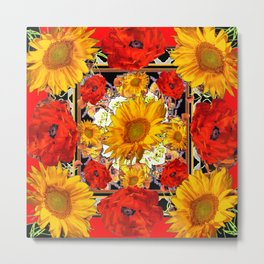 ORANGE-RED POPPIES DECORATIVE SUNFLOWERS FLORAL Metal Print