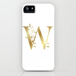 Monogram Gold Letter W iPhone Case