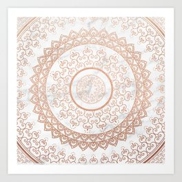 Mandala - rose gold and white marble Art Print