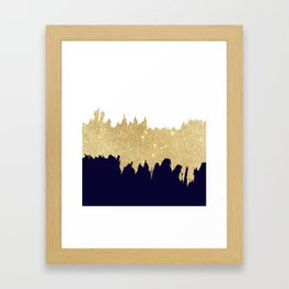 Modern navy blue white faux gold glitter brushstrokes Framed Art Print