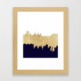 Modern navy blue white faux gold glitter brushstrokes Framed Art Print