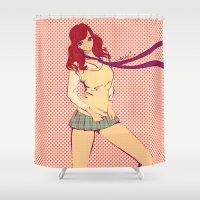 manga Shower Curtains featuring JK RETRO MANGA POP by Chandelina