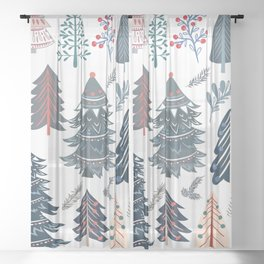 Christmas vector pattern with nordic style Xmas trees Sheer Curtain
