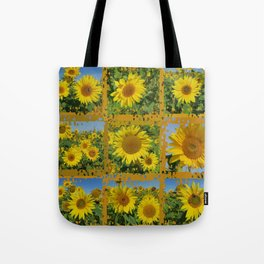 Collage of yellow sunflowers in summer, cheerful yellow flowers in front of bright blue sky Tote Bag
