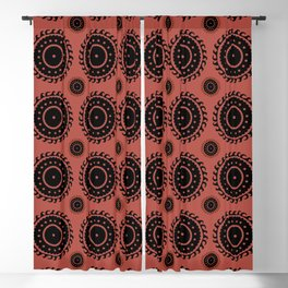 Black and Rust Asian pattern Blackout Curtain