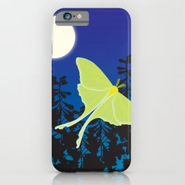 Luna Moth and Full Moon iPhone Case