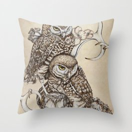 Duality - Two Burrowing Owls Throw Pillow