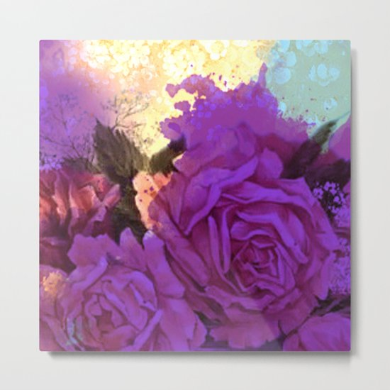 purple roses and light Metal Print