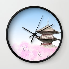 Temple and sakura Wall Clock