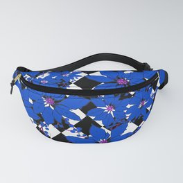 HARLEQUIN AND POINSETTIAS BLACK AND WHITE AND BLUE Fanny Pack