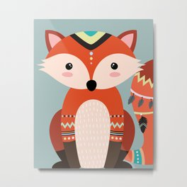 tribal fox boy Metal Print